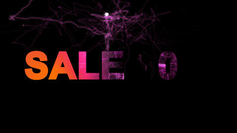 sale tag SALE 90% multi-colored appear then disappear under the lightning Animation