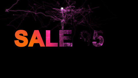 sale tag SALE 95% multi-colored appear then disappear under the lightning Animation