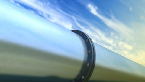 Looped walk along pipeline, evening sky Animation