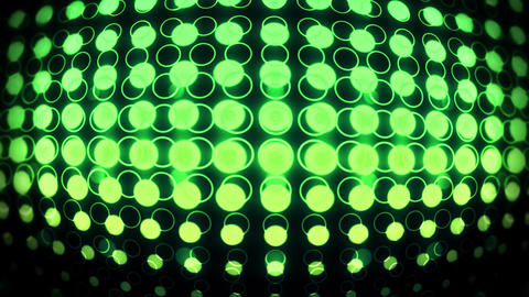 Green Glowing Neon Circles with Lens Distortion Background VJ Loop Animation