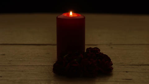 Candle light with rose Footage