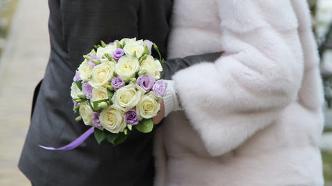 Bridal Bouquet Of Yellow And Purple Roses stock footage