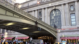 New York City 544 East 42nd Street Grand Central Terminal Ambulance Under Bridge stock footage