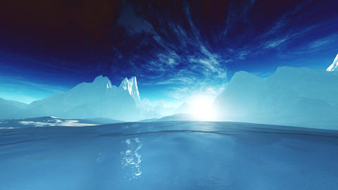 4K Antarctica Ice Field and Mountains Wide Angle Camera Pan stylized Animation