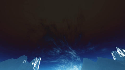 4K Antarctica Ice Field and Mountains Wide Angle Camera Tilt Down stylized Animation