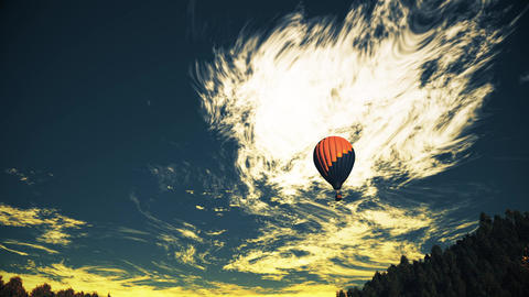 4K Hot Air Balloons Over Lush Natural Wilderness Jungle In The Sunset Sunrise 12 stock footage