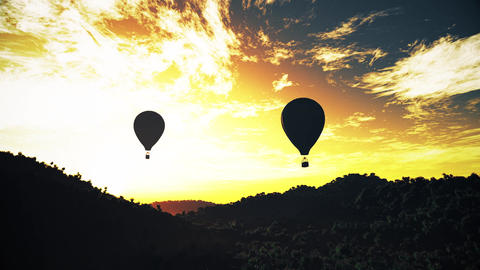 4K Hot Air Balloons Over Lush Natural Wilderness Jungle In The Sunset Sunrise 15 stock footage