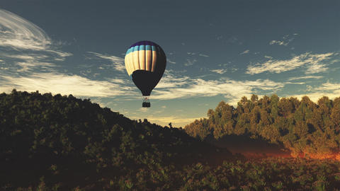 4K Hot Air Balloons over Lush Natural Wilderness Jungle in the Sunset Sunrise 2 Animation