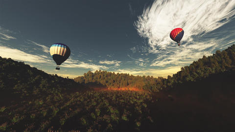 4K Hot Air Balloons Over Lush Natural Wilderness Jungle In The Sunset Sunrise 9 stock footage