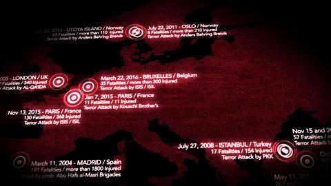 4K Map of Major Terrorist Attacks in Europe between 2000-2016 12 Animation