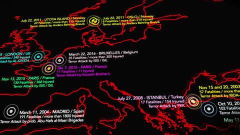 4K Map of Major Terrorist Attacks in Europe between 2000-2016 4 Animation