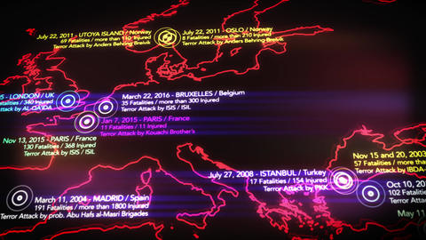 4K Map of Major Terrorist Attacks in Europe between 2000-2016 6 Animation
