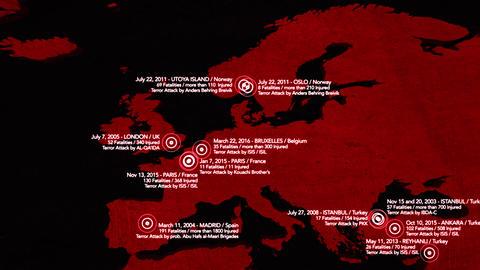 4K Map of Major Terrorist Attacks in Europe between 2000-2016 7 Animation