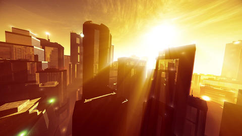 4K Megapolis in the Sunset Sunrise Lightrays Wide Angle Pan Animation