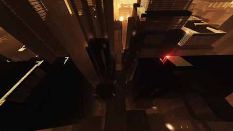 4K Megapolis in the Sunset Sunrise Wide Angle Tilt Up 1 Animation
