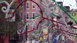 New York City 507 dense street decoration in historic Little Italy district Footage