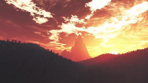 4K Wonderful Sunset Sunrise over Lush Jungle Pan 1 Animation