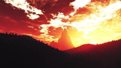 4K Wonderful Sunset Sunrise over Lush Jungle Pan 5 Animation