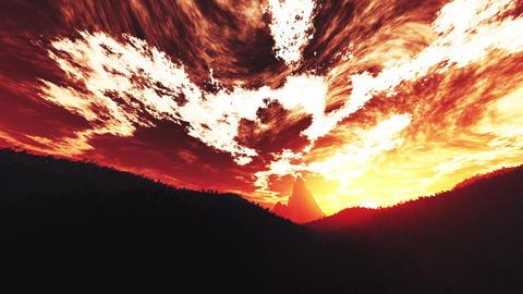 4K Wonderful Sunset Sunrise over Lush Jungle Wide Angle Pan 7 Animation