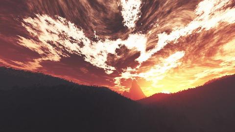 4K Wonderful Sunset Sunrise over Lush Jungle Wide Angle Pan Animation