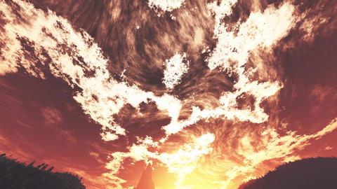 4K Wonderful Sunset Sunrise over Lush Jungle Wide Angle Tilt Down Animation