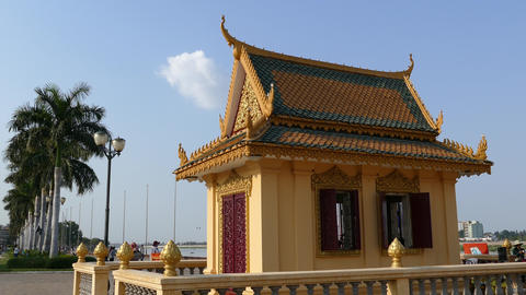 Dorngkeur Shrine at the riverside in Phnom Penh Footage