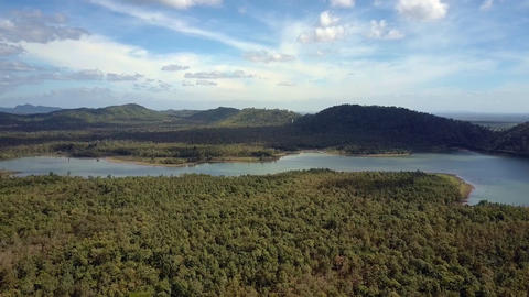 Landscape with Forest Long Lake and Distant Hills Footage