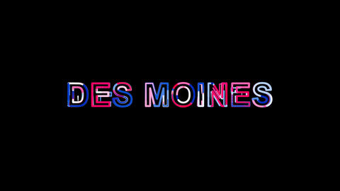 Letters are collected in city DES MOINES, then scattered into strips. Bright Animation