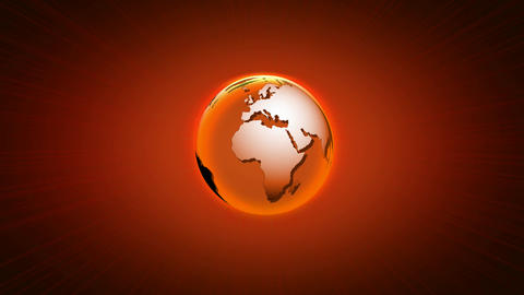 A glowing orange globe rotating on an orange ramp background Live Action