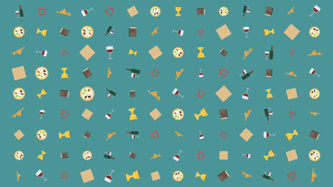 Passover holiday flat design animation background with traditional symbols Animation