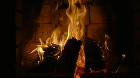 Fire in a fireplace. Slow motion ビデオ