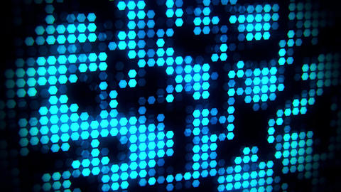 Blue Glowing Neon Hexagons Abstract Motion Background VJ Loop Animation