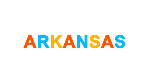 State Name ARKANSAS from letters of different colors appears behind small Animation