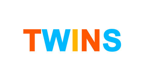 constellation of a TWINS from letters of different colors appears behind small Animation
