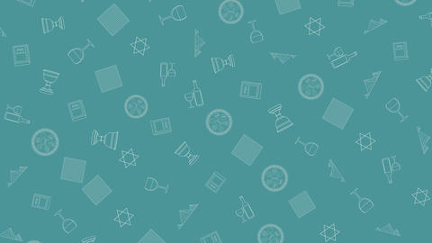 Passover holiday flat design animation background with traditional outline icon Animation