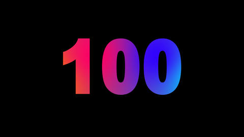 number one hundred 100 multi-colored appear then disappear under the lightning Animation