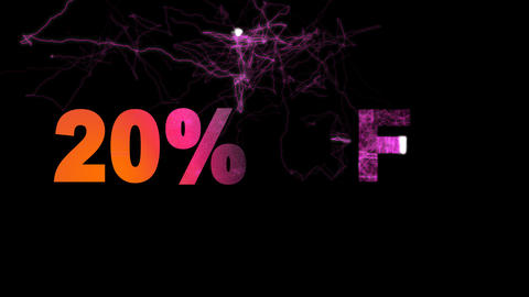 sale label 20% OFF multi-colored appear then disappear under the lightning Animation