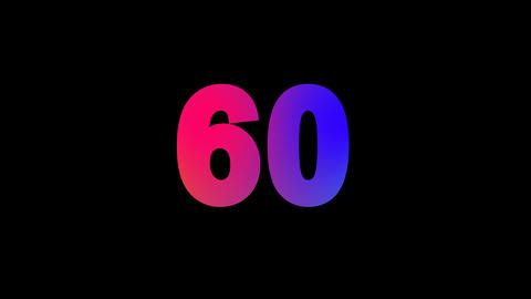 number sixty 60 multi-colored appear then disappear under the lightning strikes Animation