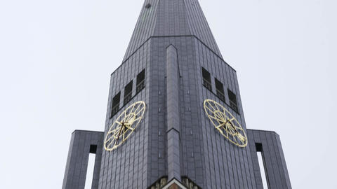 Church of St. Jacobi in Hamburg on a cloudy day 영상물