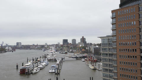 View from the top of the Elbphilharmonie of Elbe river and the harbour in Footage