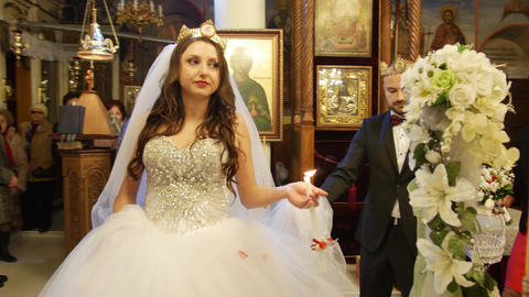 Wedding ritual in a church - newly married couple Footage