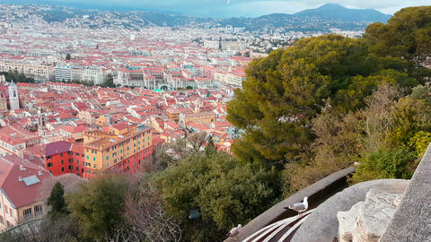 Aerial Rotating Motion View of The City of Nice France Image