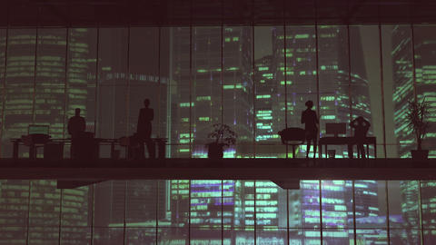 Silhouettes In An Office Building Against Of Skyscrapers 애니메이션
