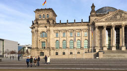 Tourists In Front of The Berlin Reichstag Parliament Building Footage