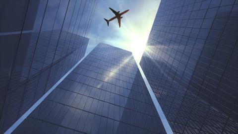 Airplane flying over the Financial District Footage
