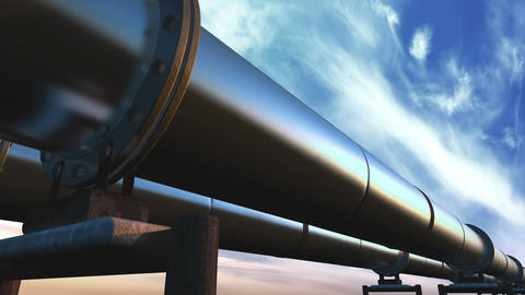 Pipelines loop perspective tracking, blue clouds Animation