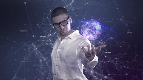 A male scientist in a white shirt holds an abstract ball in his hands against a Animation