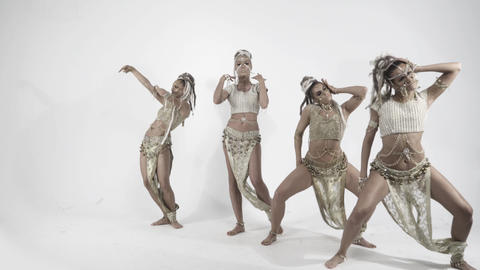 Modern glamorous Indian dances on a white background Footage