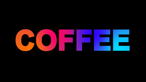 text COFFEE multi-colored appear then disappear under the lightning strikes Animation