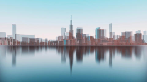 Abstract 3D Chicago city skyline silhouettes reflection Stock Video Footage